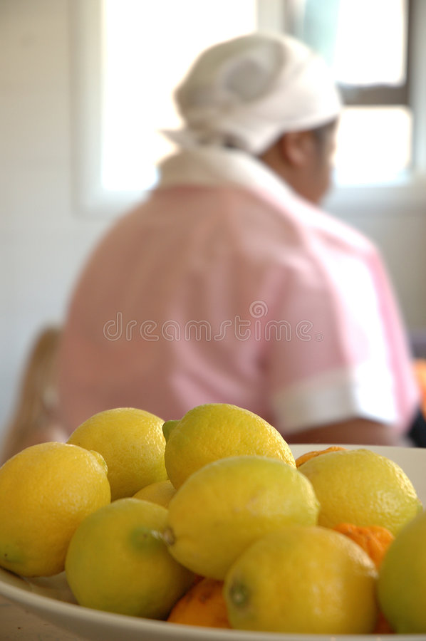 Limões e empregada doméstica foto de stock royalty free