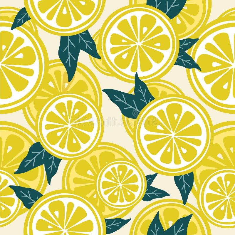Limões e folhas frescos, teste padrão sem emenda ilustração royalty free