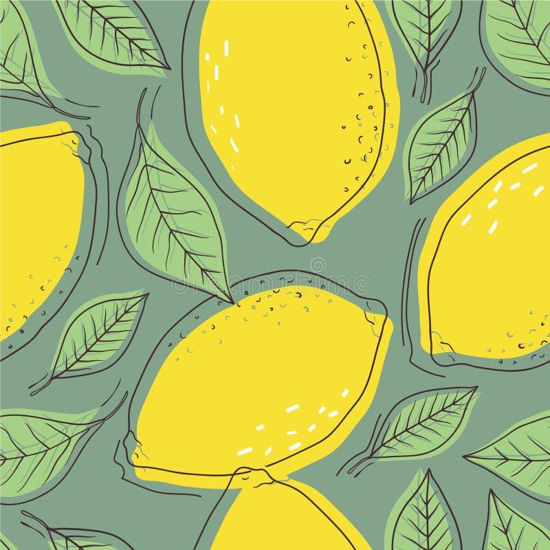Limões e folhas maduros, fundo colorido Teste padrão sem emenda com citrinas ilustração royalty free