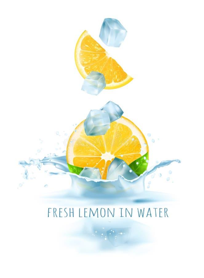 Limões frescos e cubos de gelo que caem na água ilustração stock