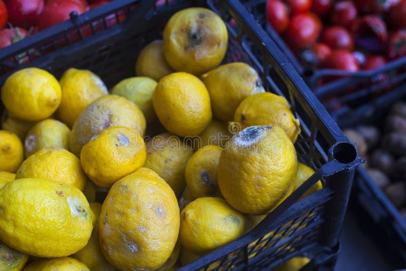Limões podres em um mercado fotografia de stock