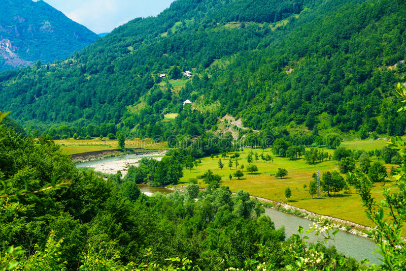 Lim River landskap royaltyfri foto