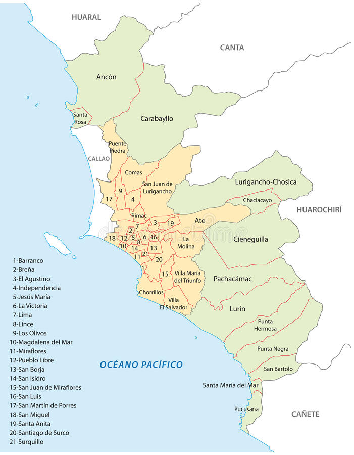 Lima administratieve kaart vector illustratie