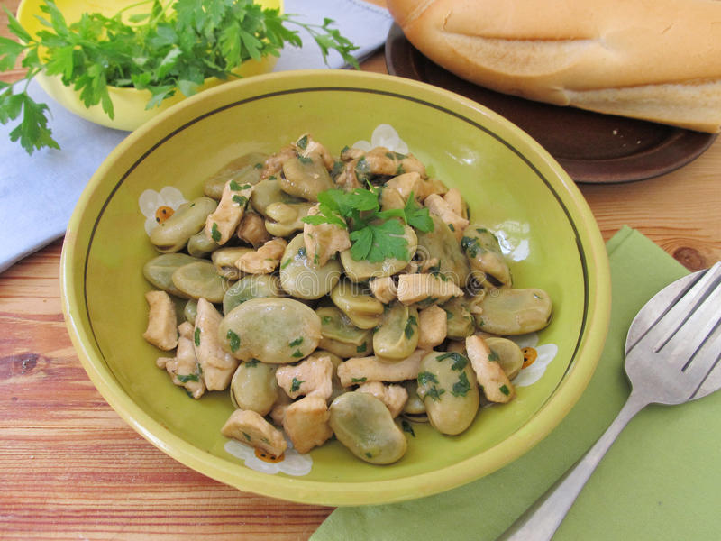 Lima beans with chicken. royalty free stock images
