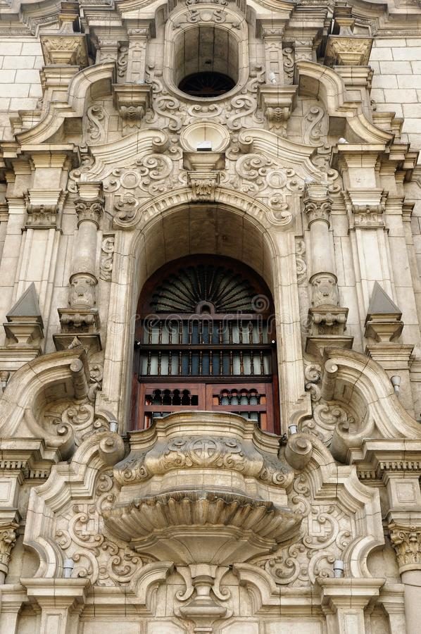 Detail of the colonial building development in the capital city Peru royalty free stock image