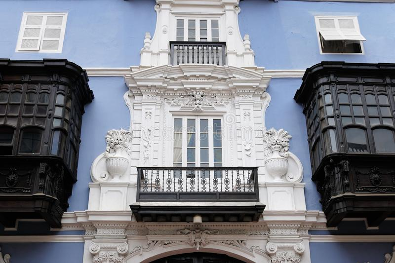 Detail of the colonial building development in the capital city Peru stock image