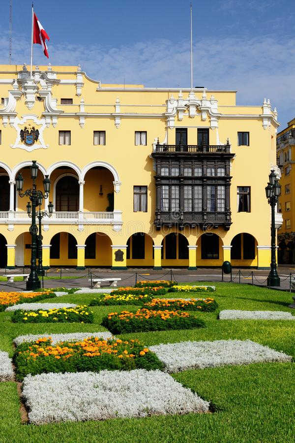 Detail of the colonial building development in the capital city Peru stock photo