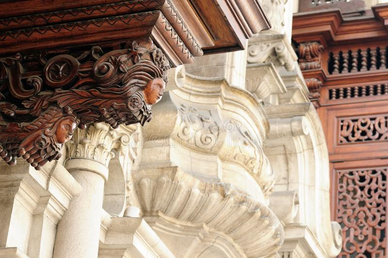 Detail of the colonial building development in the capital city Peru royalty free stock photo