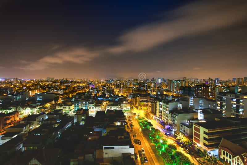 Lima capital of Peru in night view.  stock photography