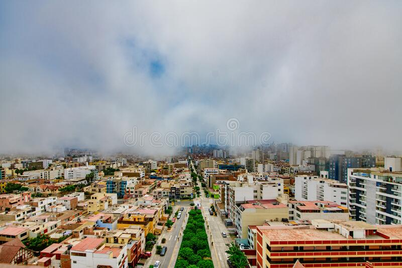 Lima capital of Peru wrapped in the typical Garùa fog.  stock image