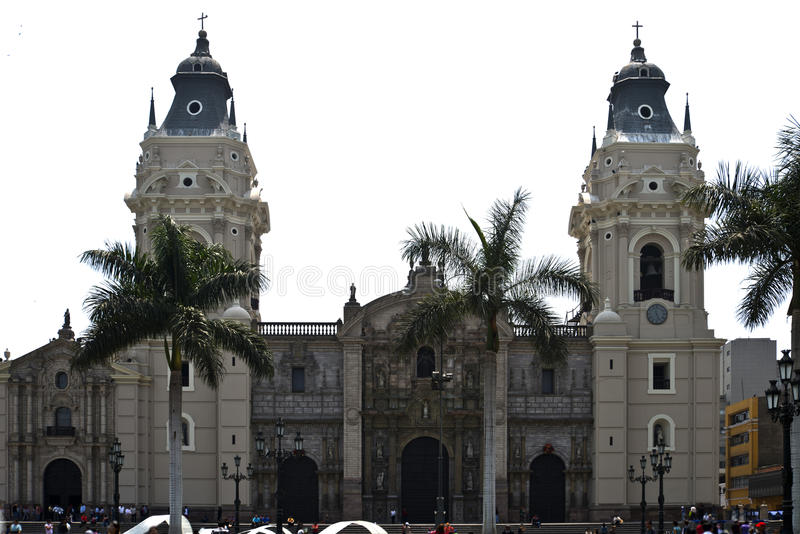 Lima cathedral, Perú. Francisco Pizarro founded Lima to a site destined to the church which he dedicated to the Virgin of the Assumption, making Sinchi Puma royalty free stock photos