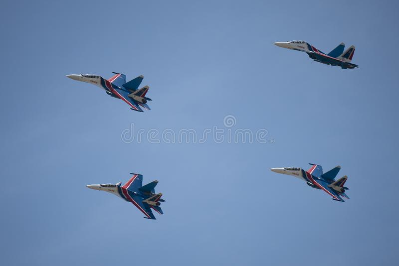 Russian Sukhoi flies in formation at LIMA expo. LANGKAWI, MALAYSIA : MARCH 27, 2019 : Russian Sukhoi Su-30SM fighter planes fly in formation at the LIMA stock image