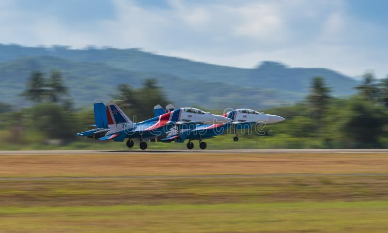 Russian Sukhoi jets takes off for airshow at LIMA Expo. LANGKAWI, MALAYSIA : MARCH 27, 2019 : Russian Sukhoi Su-30SM fighter planes take off for airshow at the royalty free stock photos