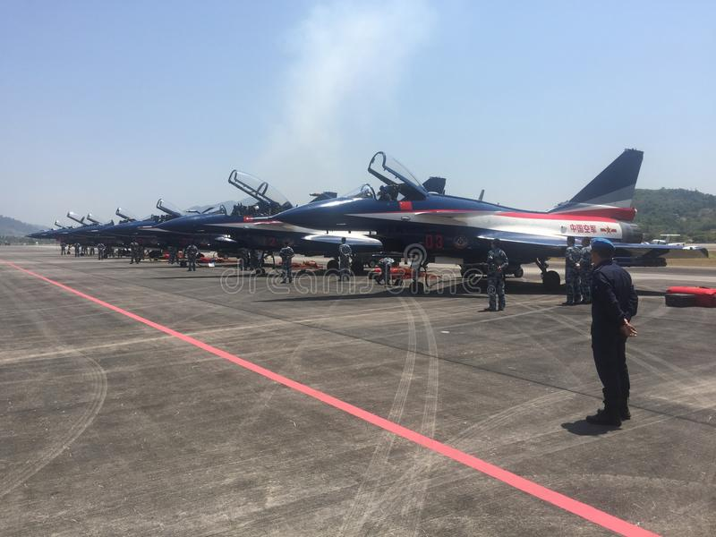 China fighter jets on display at LIMA Langkawi exhibition royalty free stock images