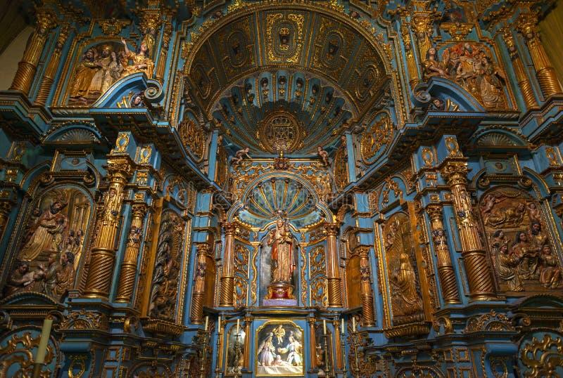 Lima Metropolitan Cathedral Baroque Interior, Peru imagem de stock
