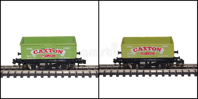 Lima N Gauge Model Railway Wagons, Caxton. Two Lima N gauge model railway wagons showing the same livery applied to different body styles, one a steel mineral stock images
