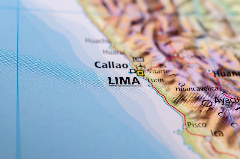 Lima na mapie zdjęcia royalty free