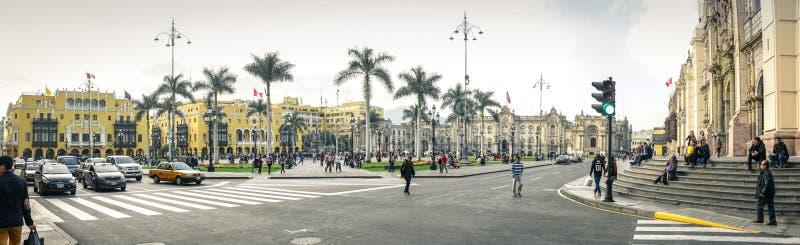 Lima/Pérou - 07 18 Vue 2017 panoramique à la place principale de Plaza de Armas photo stock