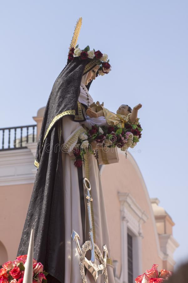 Procession of faith in Holy Week in the streets of Lima royalty free stock photo