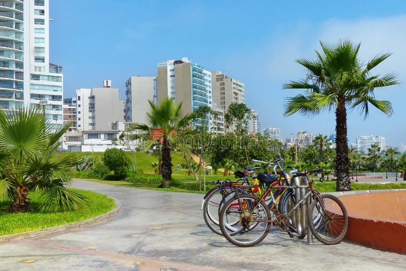 Lima, Peru. Bicycles for the rent stock image