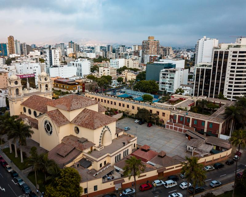 LIMA, PERU - December,12, 2018: Aerial of buildings of downtown Miraflores in Lima royalty free stock image