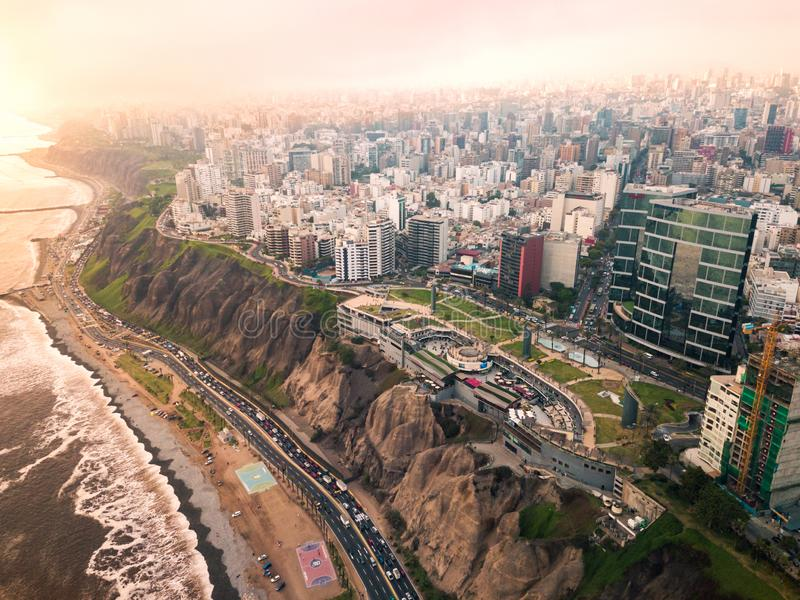 LIMA, PERU - December,12, 2018: Aerial of buildings of downtown Miraflores in Lima. On a overcast day bird view skyscrapers roof tower landscape costa verde royalty free stock image