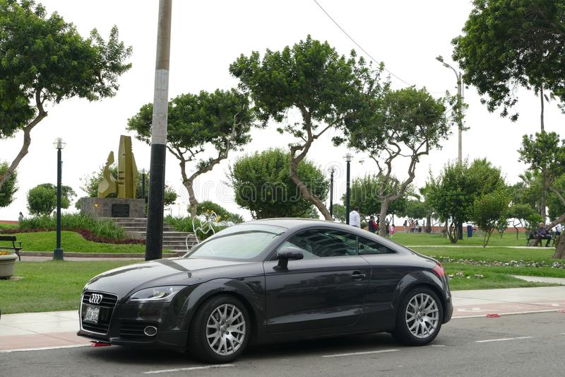 Gray modern Audi TT FSI parked in Miraflores, Lima royalty free stock images