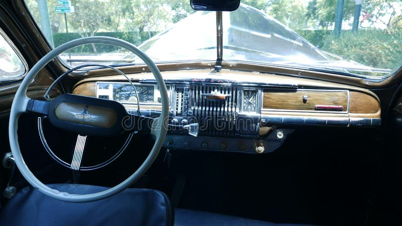 Interior of a 1949 DeSoto limousine parked in Lima. Lima, Peru. December 19, 2016. Retro styled image of the interior of a 1949 DeSoto limousine parked in a royalty free stock photos
