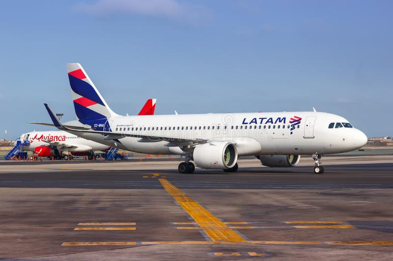 LATAM Airbus A320neo airplane Lima airport. Lima, Peru – February 2, 2019: LATAM Airbus A320neo airplane at Lima airport LIM in Peru royalty free stock image