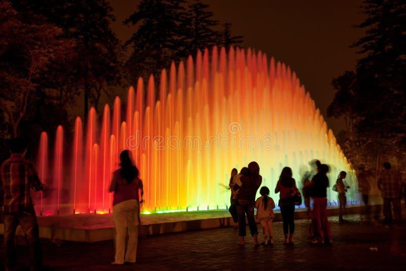 LIMA PERU - JANUARI 22, 2012: Folket som tycker om natt, går royaltyfri foto