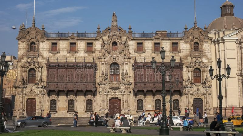 LIMA, PERU- JUNE, 12, 2016: wide view of the exterior of the archbishop`s palace in lima, peru stock images