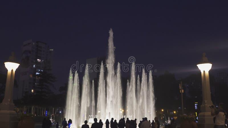 LIMA PERU JUNI, 12, 2016: nattetidskott som ser in mot den magiska springbrunnen i lima fotografering för bildbyråer