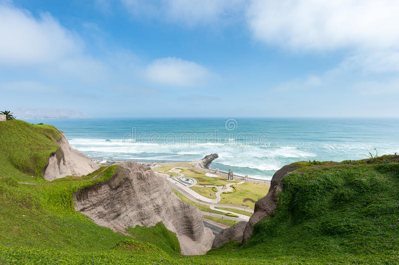 Lima, Peru. Landscape from Miraflores. South Pacific Ocean in Background. Lima, Peru. Landscape from Miraflores royalty free stock image