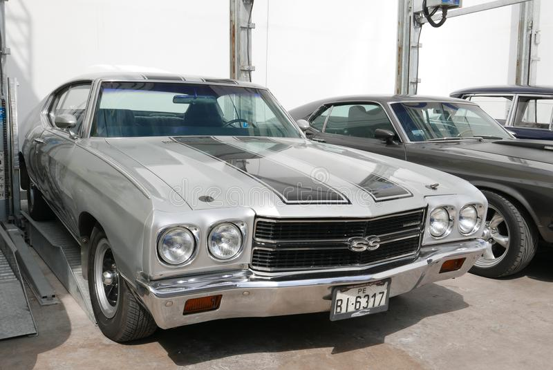 Silver and black Chevrolet Chevelle SS in Lima stock photos