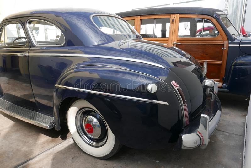Rear Desoto Deluxe car parked in San Isidro, Lima. Lima, Peru. May 6, 2018. Rear view of a mint condition black DeSoto Deluxe car coupe parked in San Isidro royalty free stock photo