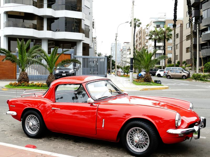 Skill red Triumph Spitfire Mark III parked in Lima stock photos