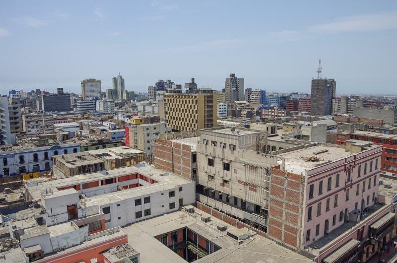 Lima Peru - sikt till tak av centret från Convento de Santo royaltyfri foto