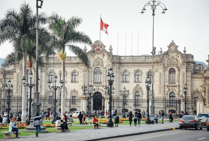 Lima / Peru - 07.18.2017: View at the Presidential Palace royalty free stock photography
