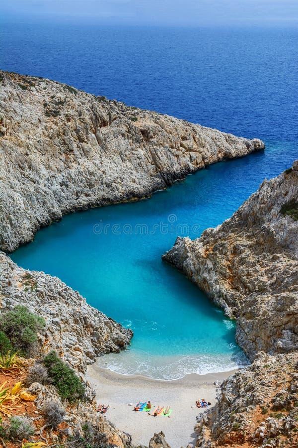 Limania Seitan или пляж Stefanou, Крит стоковое фото