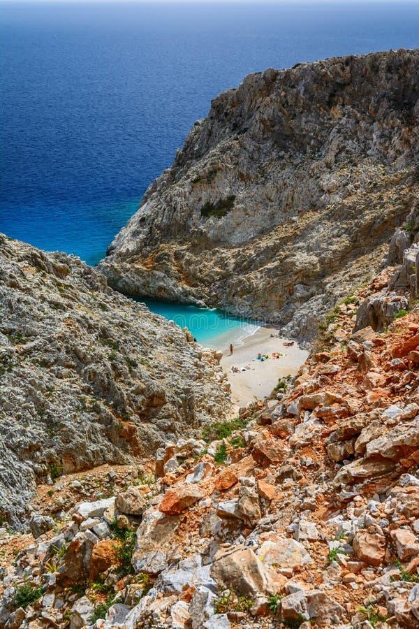 Limania Seitan или пляж Stefanou, Крит стоковые изображения