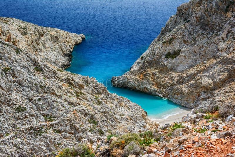 Limania Seitan или пляж Stefanou, Крит стоковая фотография