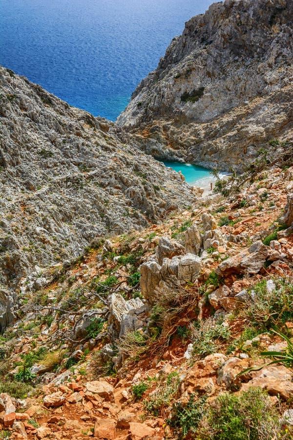 Limania Seitan или пляж Stefanou, Крит стоковые фотографии rf