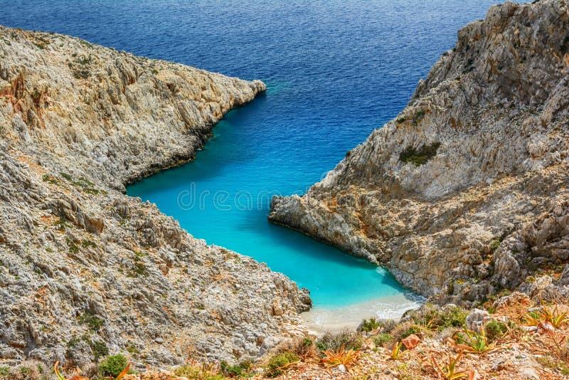 Limania Seitan или пляж Stefanou, Крит стоковые изображения rf