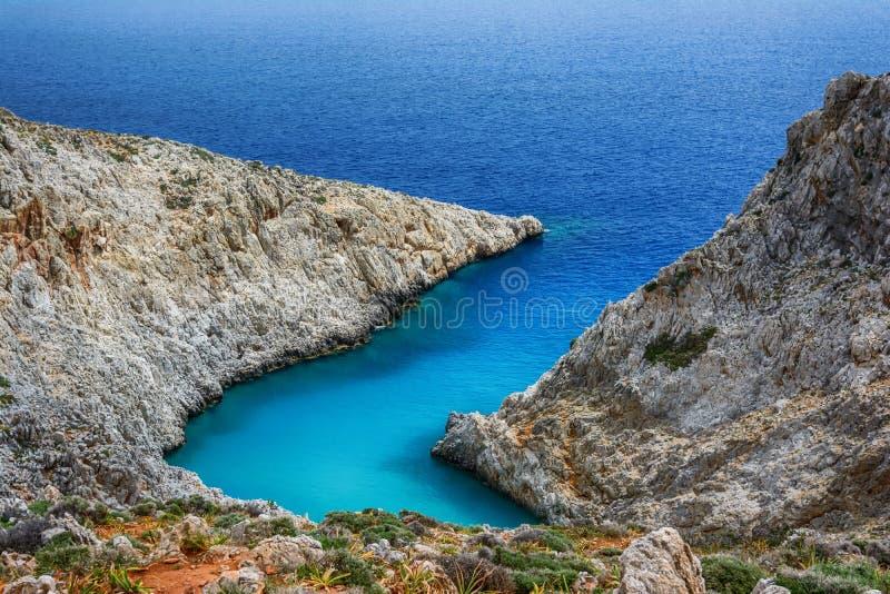 Limania Seitan или пляж Stefanou, Крит стоковое изображение rf