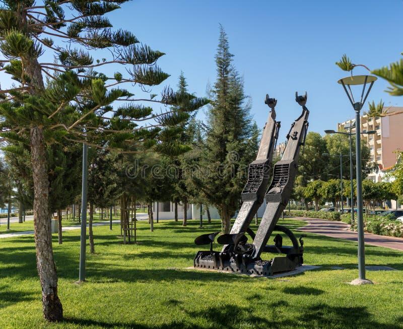 LIMASSOL, CHYPRE - 26 octobre 2015 : Sculpture chez Molos dans Limas photographie stock