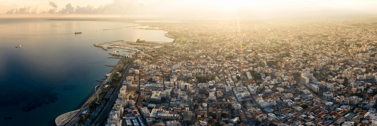 Limassol cityscape, Panoramic view. Cyprus royalty free stock photo