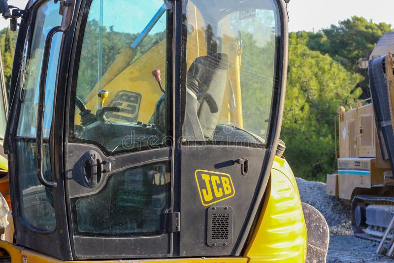 Limassol, Cyprus, 11, 06. 2018: JCB and a tarmac grinder/remover stock images