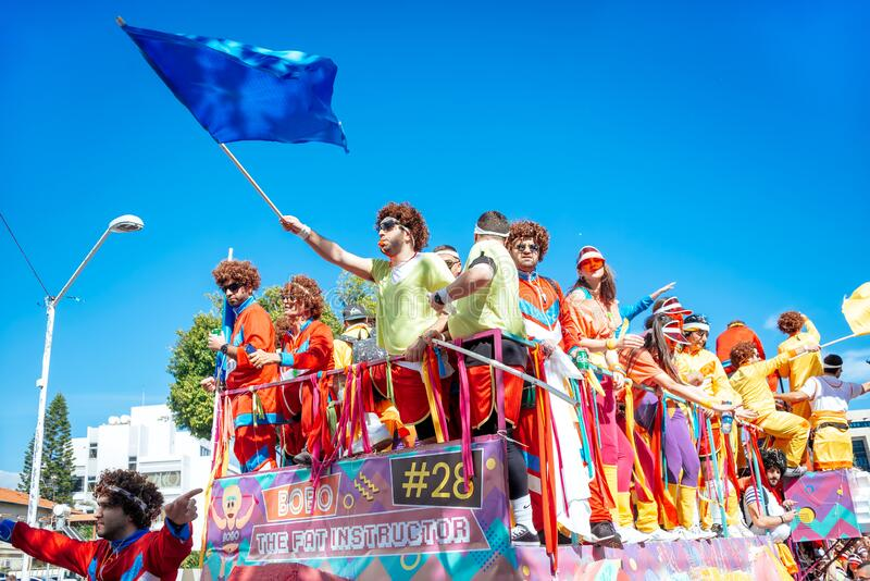 Limassol, Cyprus - March 01, 2020: Happy people in colorfull costumes at famous Limassol Carnival Parade stock image