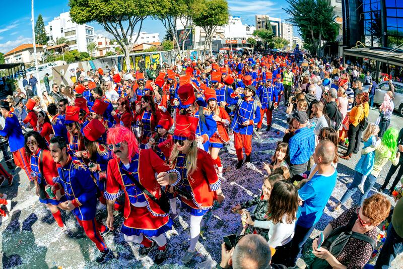 Limassol, Cyprus - March 01, 2020: Participants during the famous Limassol Carnival Parade stock images