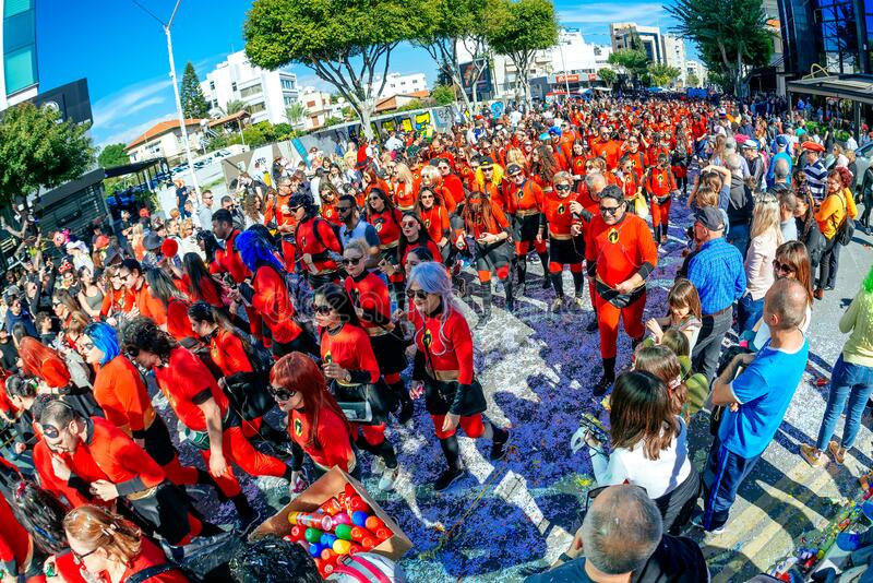 Limassol, Cyprus - March 01, 2020: People in bright blue carnival costumes during the famous Limassol Carnival Parade stock photos